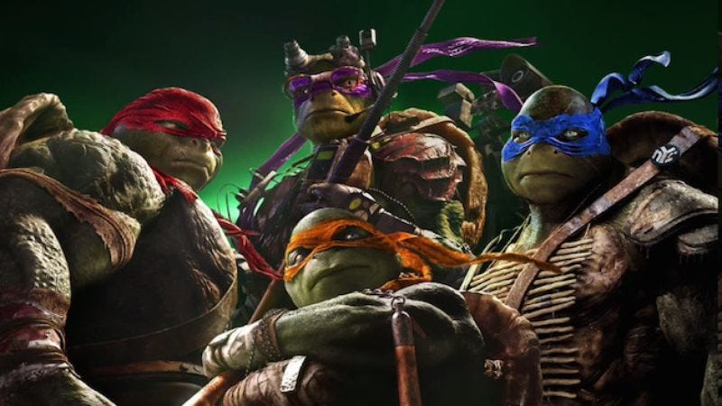 Illustration for article titled New Ninja Turtles movie debuts obligatory song with vaguely turtle-related rapping