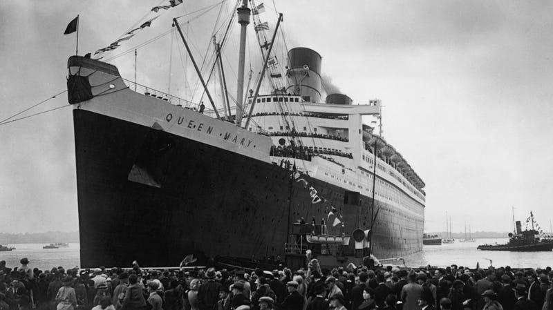 Queen Mary setting off on her maiden voyage in 1936. Doomed filmmakers not pictured.