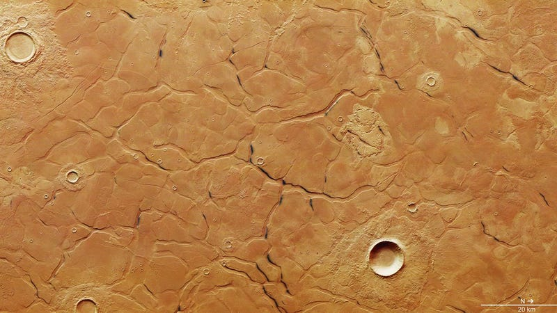 Satellite image of the terrain in Utopia Planitia, where scientists just discovered a vast water ice deposit. (Image: ESA/DLR/FU Berlin)