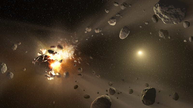 Artist's concept of asteroid collisions (Image: NASA/JPL-Caltech)