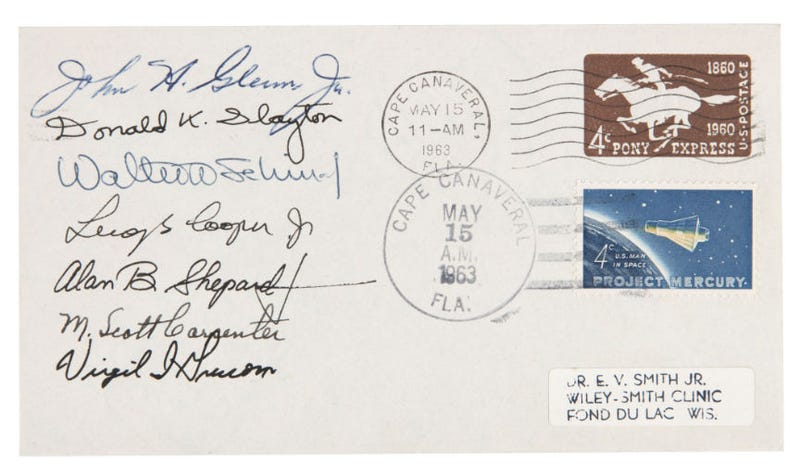Illustration for article titled MERCURY 7 ASTRONAUTS SIGNED FIRST DAY COVER.