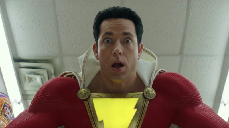 Zachary Levi as a very astonished Shazam.