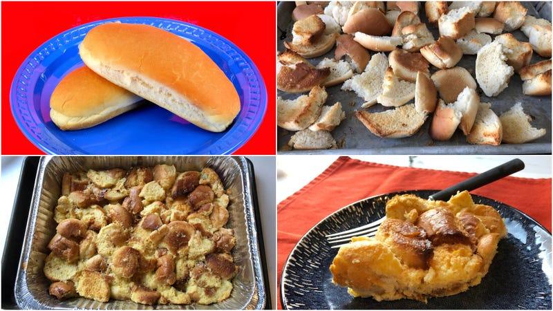 Illustration for article titled Leftover hot dog buns + melted ice cream + eggs = legit bread pudding
