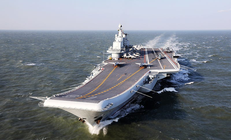 Chinese aircraft carrier Liaoning in training in the Yellow Sea in December, 2016 (Photo Credit: Getty)