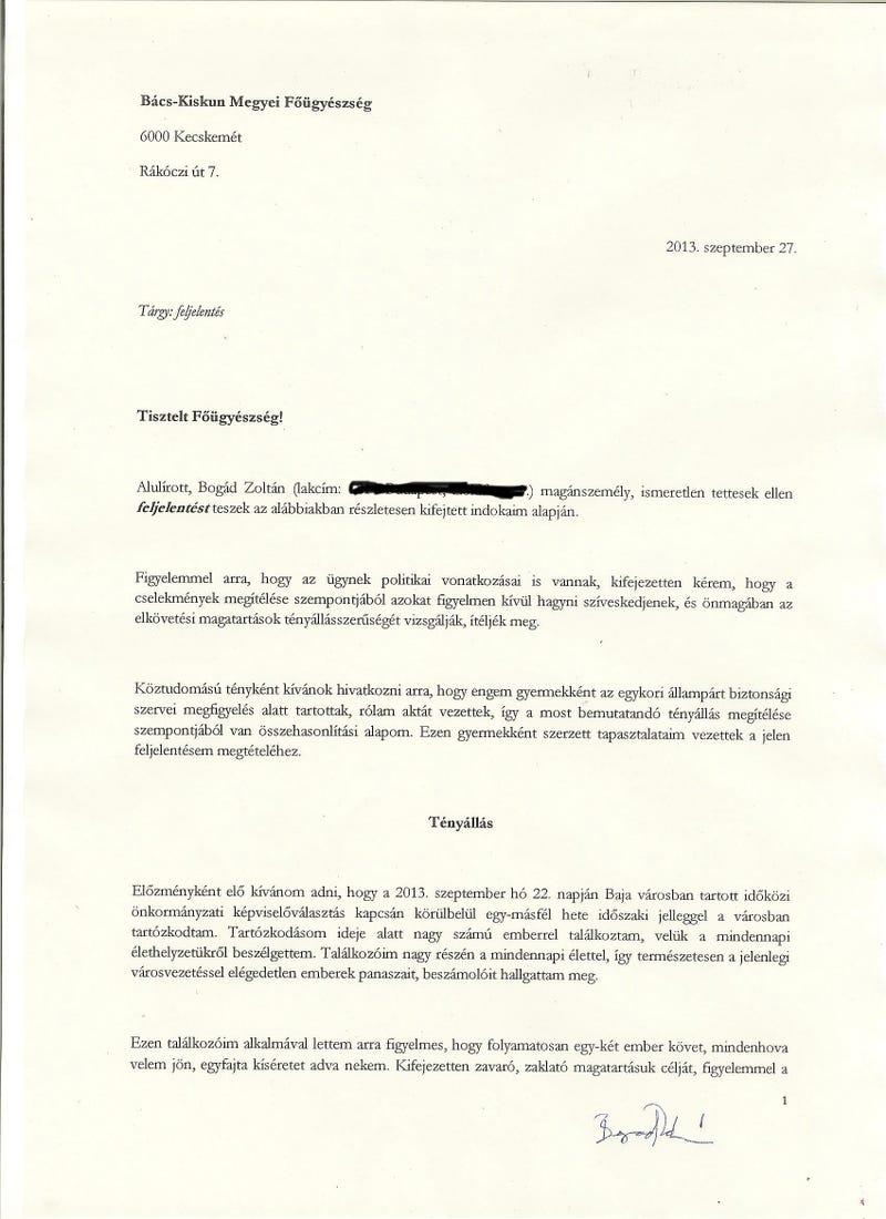 Illustration for article titled A ki- vagy lehallgatott Bogád feljelentést tett