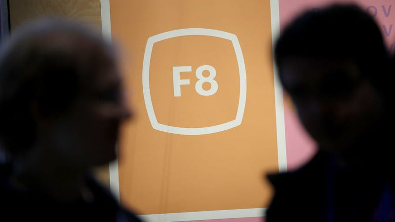 The Facebook F8 logo is displayed during the F8 Facebook Developers conference on May 1, 2018 in San Jose, California.