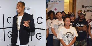 Jay Z (Larry Busacca/Getty Images); Dream Defenders (Steven Pargett/Dream Defenders)