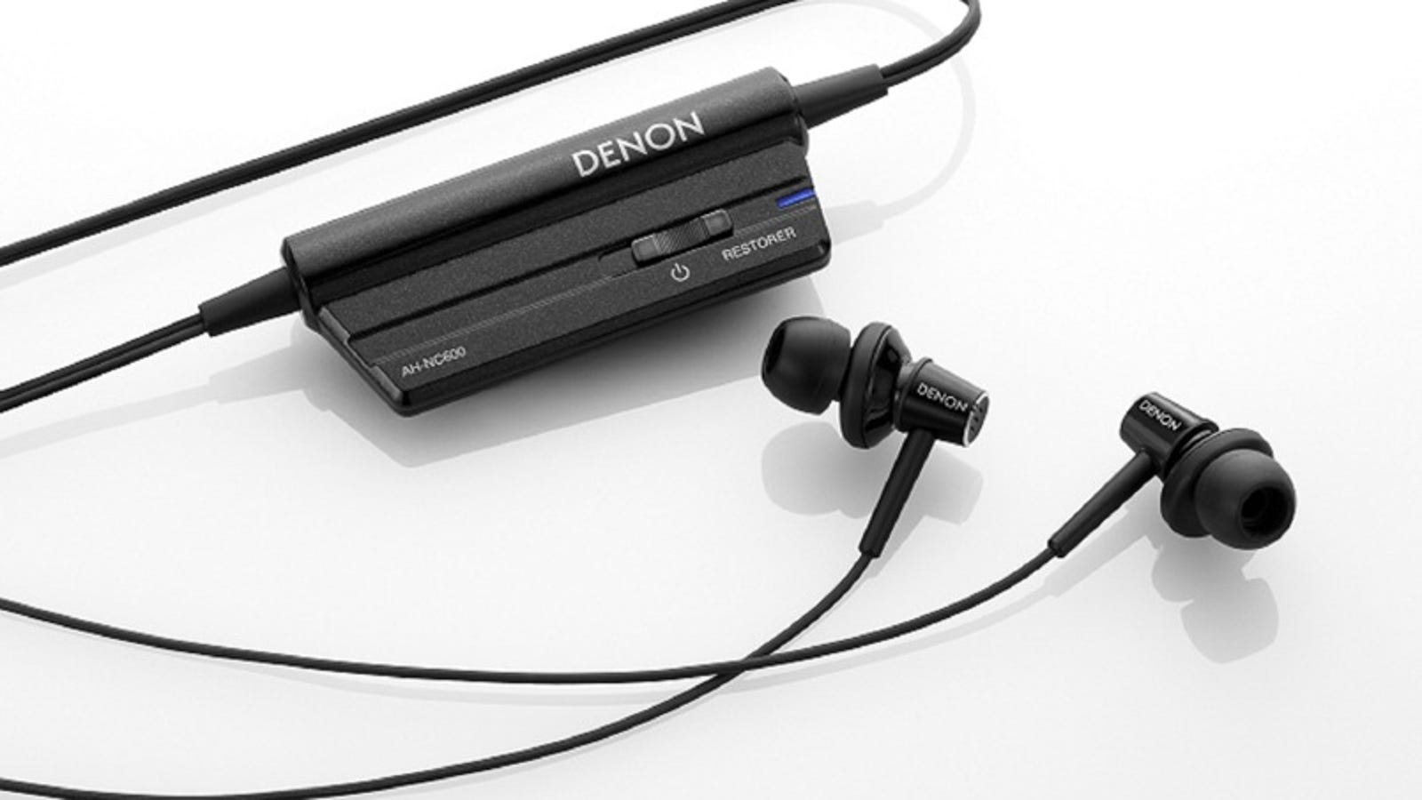 wireless earbud neckband headset retractable - Denon AH-NC600 Earbuds Cancel Noise, Right Down To Touched Cables