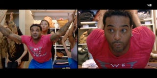 Jim Jones practicing yoga on Chrissy & Mr. Jones (VH1.com)