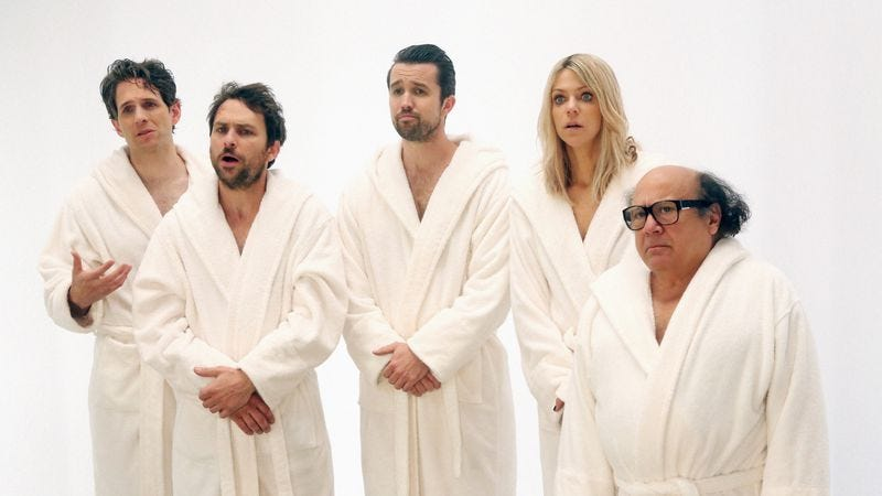 Glenn Howerton, Charlie Day, Rob McElhenney, Kaitlin Olson, Danny DeVito (FXX)