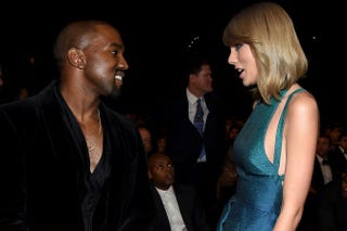 Kanye West and Taylor Swift at the 57th annual Grammy Awards at the Staples Center in Los Angeleson Feb. 8, 2015Larry Busacca/Getty Images