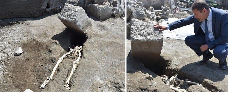 Illustration for article titled Descubren en Pompeya el esqueleto de alguien con muy mala suerte: una piedra le aplastó la cabeza mientras huía