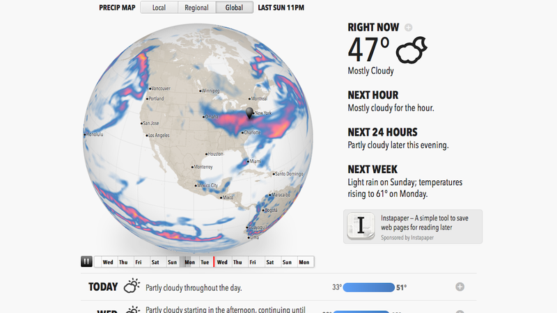 Illustration for article titled Forecast.io Delivers a Useful Animated Weather Report for Your Location, All On One Page