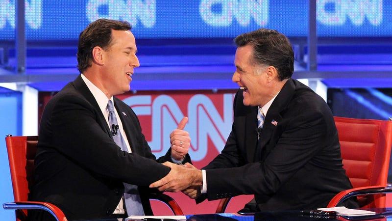 Illustration for article titled Rick Santorum Endorses Mitt Romney via Middle of the Night Whisper