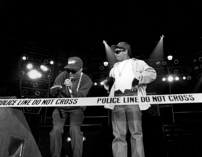 MC Ren and Eazy-E from N.W.A perform during the Straight Outta Compton tour at Kemper Arena in Kansas City, Mo., in 1989.Raymond Boyd/Michael Ochs Archives/Getty Images
