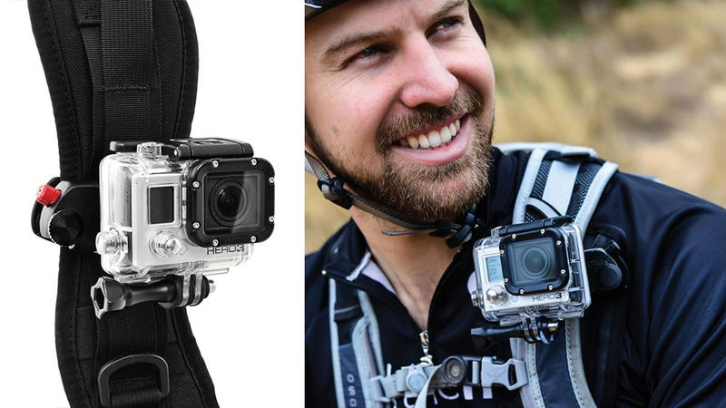Illustration for article titled Attach a GoPro to Your Backpack Strap with This Simple Mount