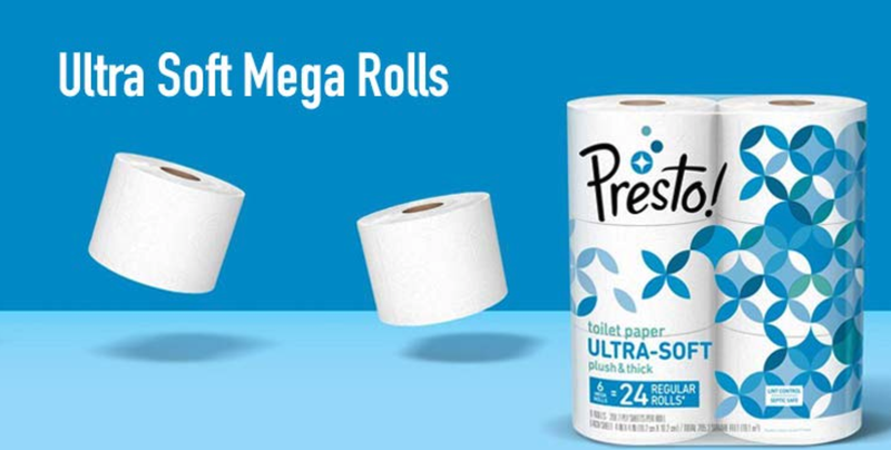 Presto! Mega Roll Toilet Paper, Ultra Soft, 24 Count | $16 | Amazon | Clip 25% off couponPresto! Mega Roll Toilet Paper, Ultra Strong, 24 Count | $16 | Amazon | Clip 25% off coupon