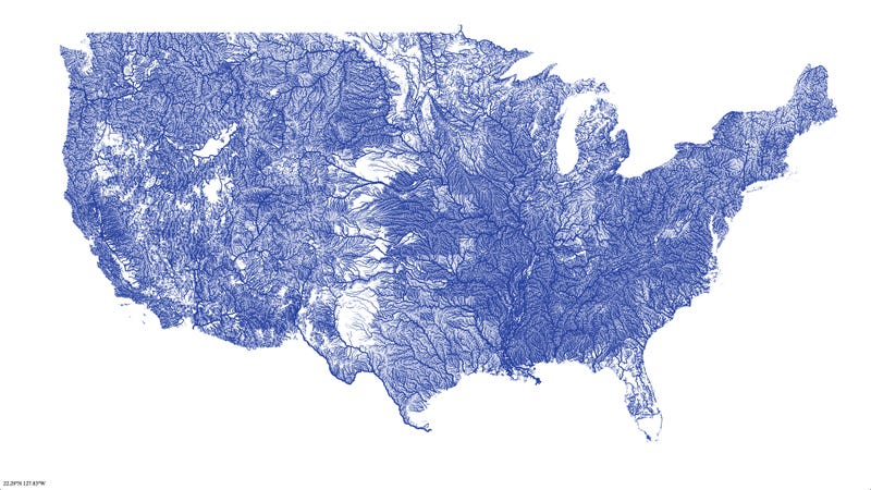 a map of all the rivers in the united states and nothing else