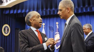 The Rev. Al Sharpton with Attorney General Eric Holder Jan. 16, 2013, in the South Court Auditorium of the Eisenhower Executive Office Building in Washington, D.C.Mandel Ngan/AFP/Getty Images