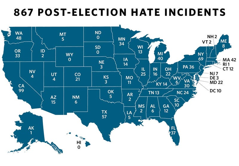 A map of hate incidents reported to the Southern Poverty Law CenterSouthern Poverty Law Center screenshot