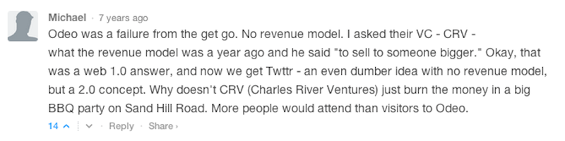 "Illustration for article titled 7 Year Old Comment on Techcrunch's Review of ""Twttr"" Is Amazing, Will Live Forever"