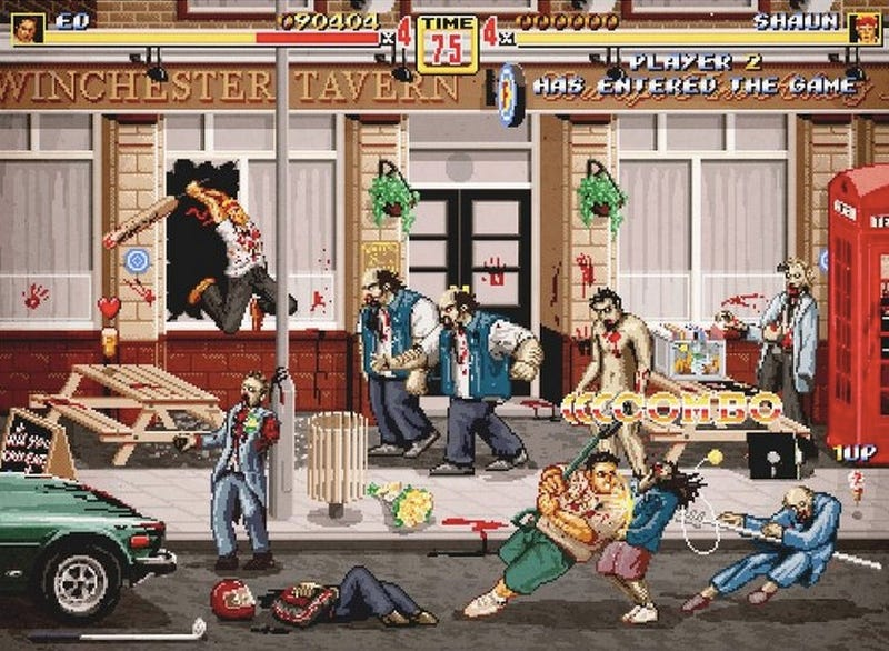 Illustration for article titled Behold a scene from the nonexistent Shaun of the Dead 1990s arcade game