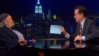 Author Toni Morrison talks to host Stephen Colbert on The Colbert Report.COMEDY CENTRALSCREENSHOT