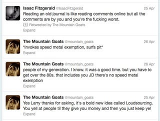 Illustration for article titled Why John Darnielle Is the Awesomest in Three Tweets and a Retweet