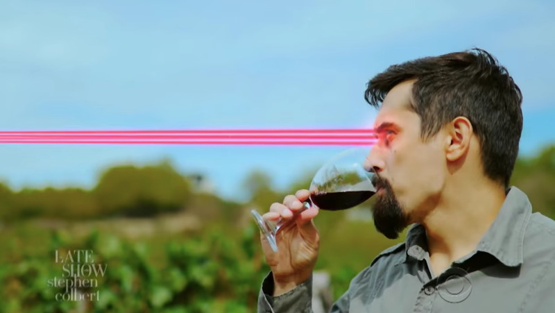 Illustration for article titled Stephen Colbert tries to scare us off perfectly safe nuclear wine