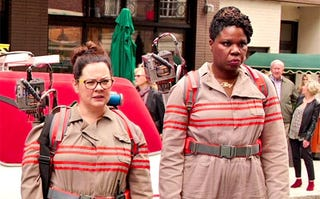 Leslie Jones (right), seen here in a scene from Ghostbusters, received a barrage of abusive tweets.Columbia Pictures