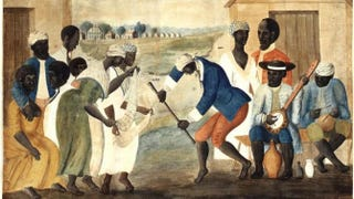 A depiction of enslaved African Americans dancing to the banjo during the 1780sWikimedia Commons