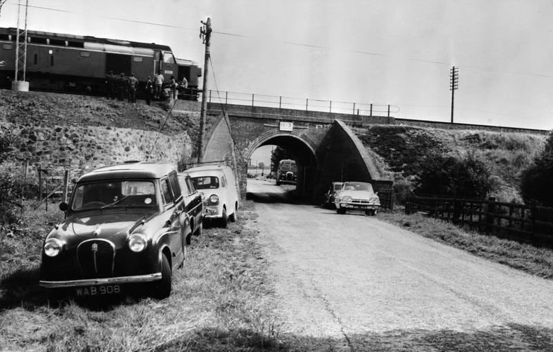 8th August 1963: The Mail Train which was stopped on a bridge during 'The Great Train Robbery' so that it could be unloaded. (Photo by Keystone/Getty Images)
