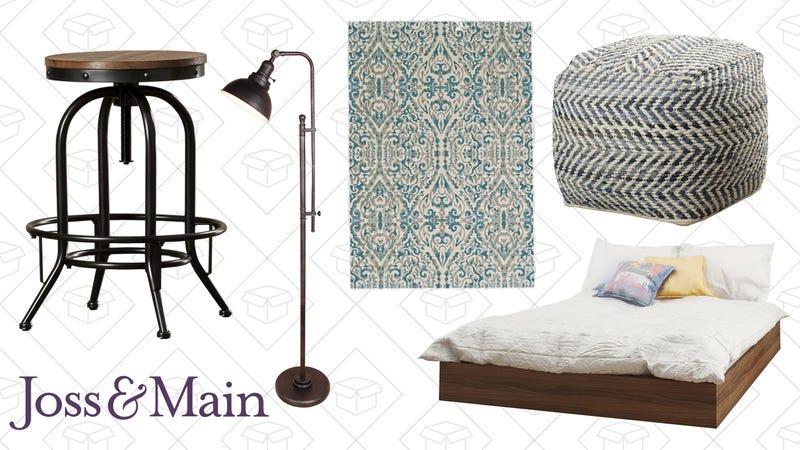 Roshanna Barstool (Set of 2), $117 | Vanessa Floor Lamp, $58 | Bonnie Rug, $49 | Sharon Pouf, $76 | Michelle Platform Bed, $222
