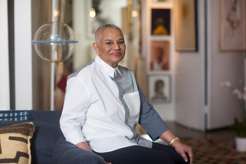 Peggy Cooper Cafritz, founder of the Duke Ellington School of the Arts, lounges in her home full of collected art pieces in Washington, D.C. (April Greer for the Washington Post via Getty Images)
