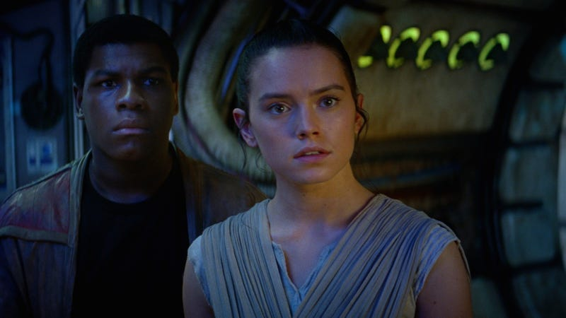 Finn (John Boyega) and Rey (Daisy Ridley) in one of many BFF moments from The Force Awakens.
