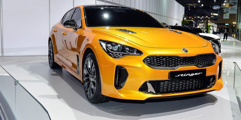 """Illustration for article titled Kia Stinger GT Carbon Pack and the New Kia """"E"""" Badge"""