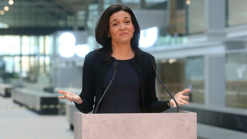 Chief Operating Officer of Facebook, Sheryl Sandberg, delivers a speech during the visit of a start-up companies gathering at Paris' Station F in Paris on Jan. 17, 2017.