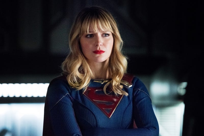 Supergirl (Melissa Benoist) pondering...something in this pic from Crisis part three, since we couldn't even snag a photo from tonight yet.