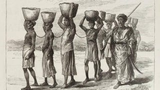 """""""A Slave Gang in Zanzibar""""The Illustrated London News (March 16, 1889), vol. 94, p. 343. Engraving based on sketch by W.A. Churchill."""
