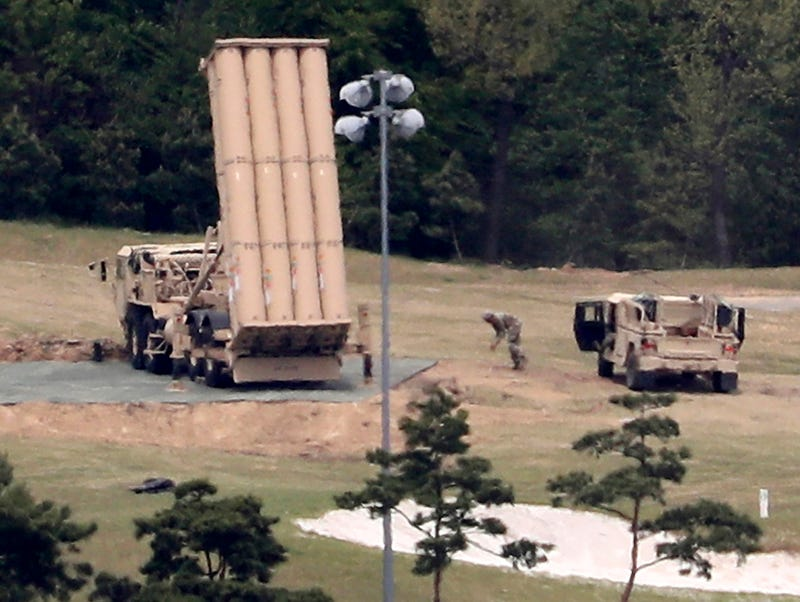 In this Tuesday, May 2, 2017 file photo, a U.S. missile defense system called Terminal High Altitude Area Defense, or THAAD, is installed at a golf course in Seongju, South Korea. Clashes between residents and police over the deployment of an advanced U.S. anti-missile system highlight a divisive issue ahead of South Korea's presidential election on May 9. (Kim Jun-beom/Yonhap via AP, File)