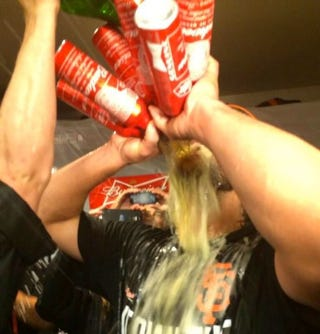 Illustration for article titled Madison Bumgarner Takes Six Beers To The Face