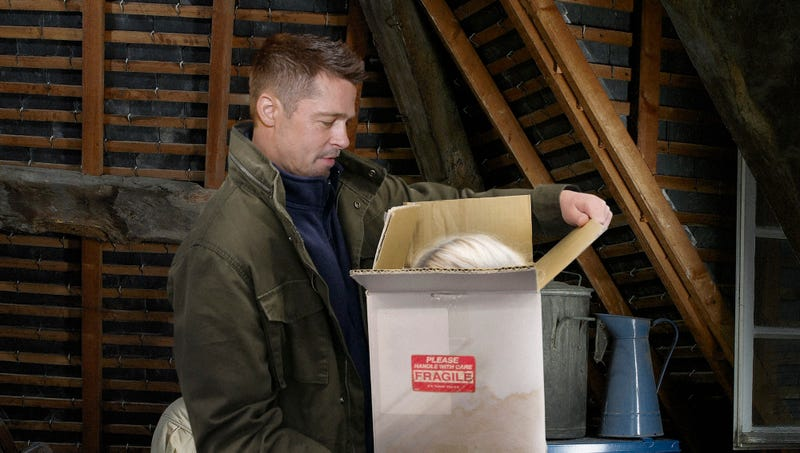 Illustration for article titled Brad Pitt Stumbles Across Old Cardboard Box With Gwyneth Paltrow's Head In Attic