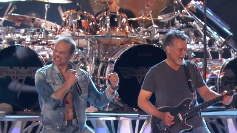 David Lee Roth (L) and Eddie Van Halen (R) performing on Jimmy Kimmel Live