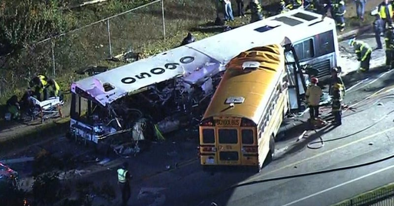 An MTA commuter bus and a school bus collided Nov. 1, 2016, killing six people and injuring at least five.Twitter