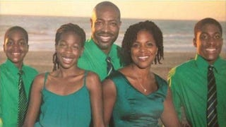 Ronald and Malissia Clinton (third and fourth from left) believe that their Manhattan Beach, Calif., home was firebombed Feb. 4, 2015, because they are African American and live in a predominantly white community.Facebook