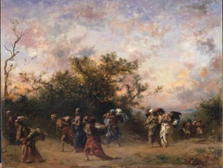 "Eugène Fromentin, Femmes arabes en voyage (""Arab Women Under Way""), 1873. Oil on wood, 49.5 by 61.6 cm.Menil Collection, Houston"