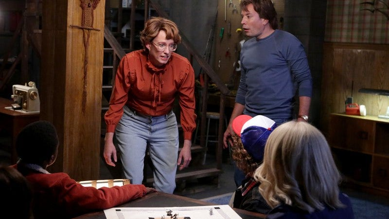 Tonight Show head writer A.D. Miles, playing Barb from Stranger Things for a sketch. (Photo: NBC/Getty Images)