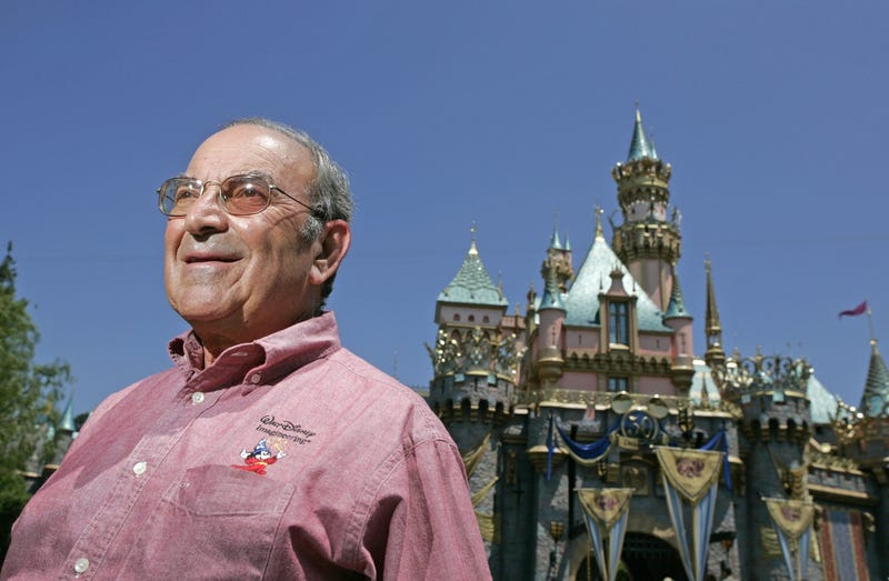 Marty Sklar in front of Sleeping Beauty's Castle at Disneyland on July 11, 2005 (AP Photo/Jae C. Hong)