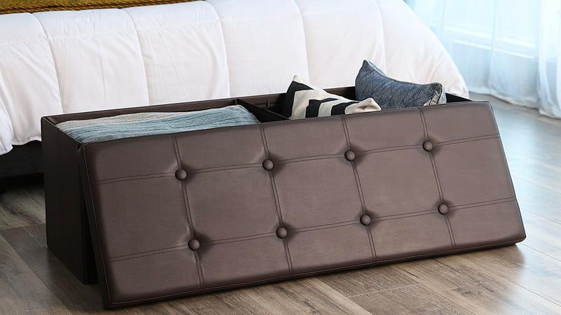 """SONGMICS 43"""" Faux Leather Folding Storage Ottoman Bench 