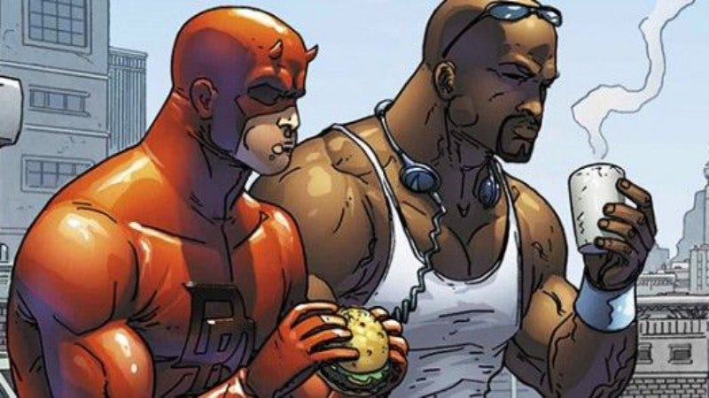 Luke Cage, with fellow Netflix-adapted superhero Daredevil